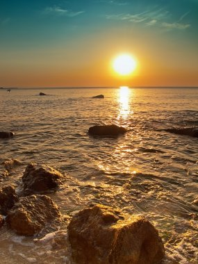Black Sea rocks at sunrise in Bulgaria stock vector