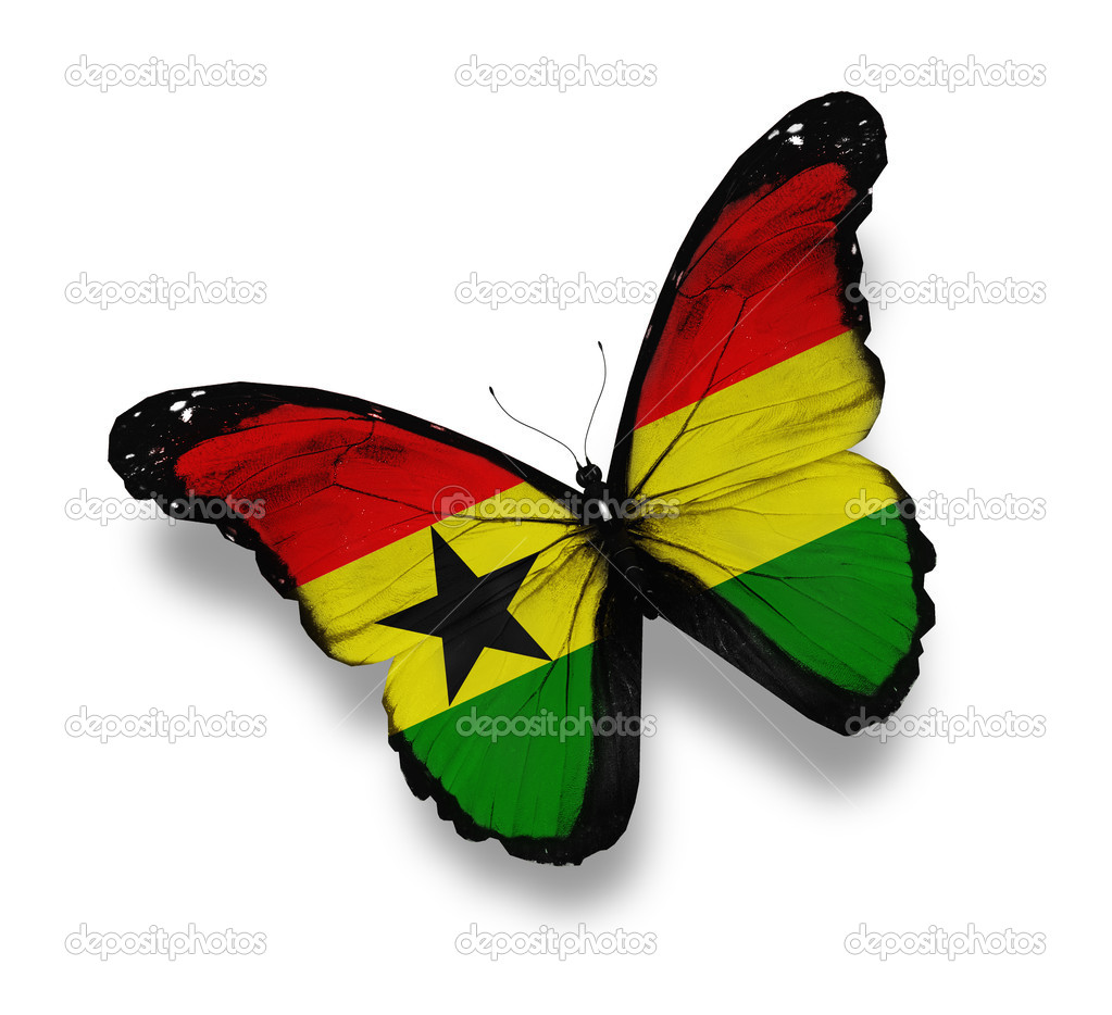 Ghana flag butterfly, isolated on white