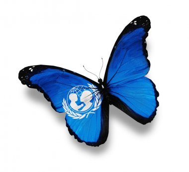 Flag of UNICEF butterfly, isolated on white