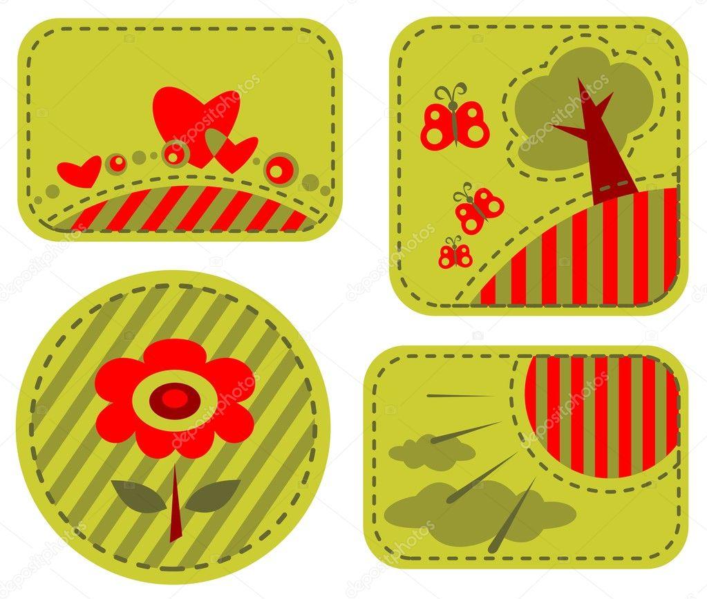 Marcos románticos verdes — Vector de stock © tokhiti #10356766