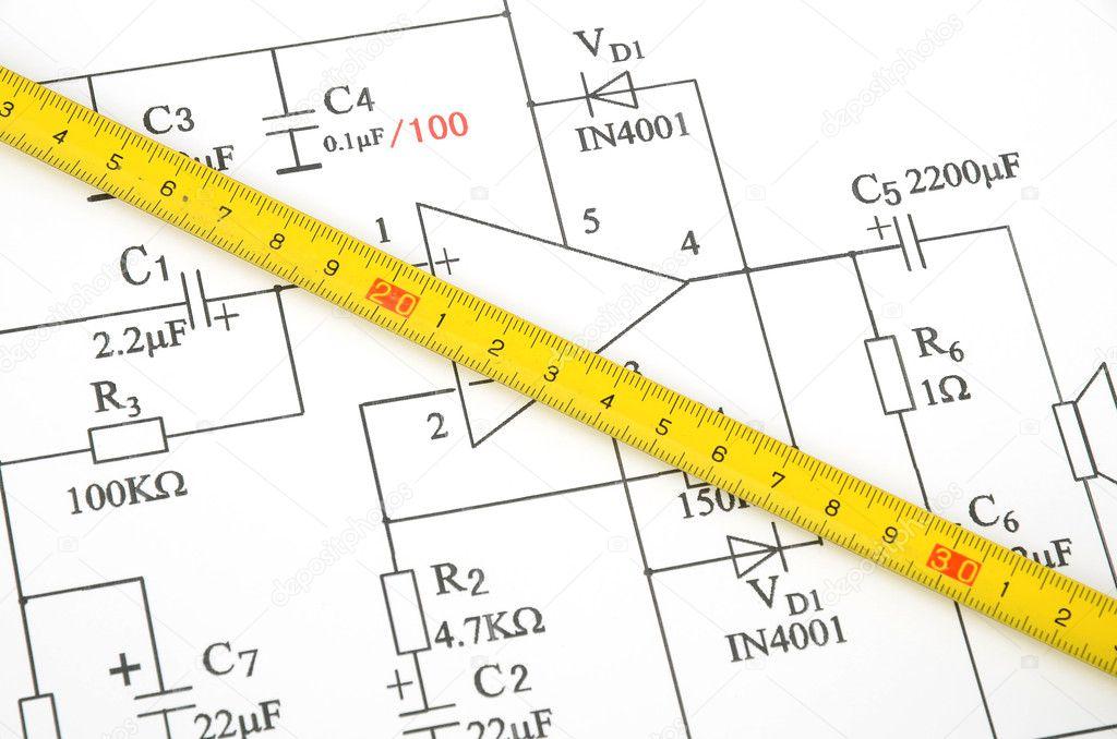 Circuit Diagram And Tape Measure Stock Photo Anaken2012 10116552