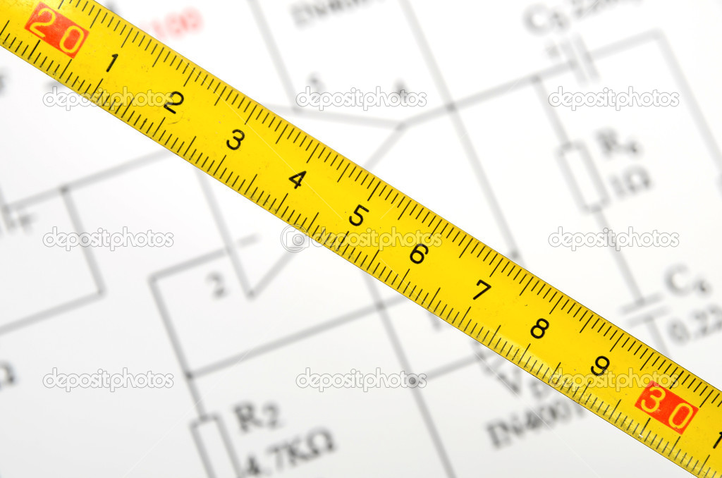 Sensational Circuit Diagram And Tape Measure Stock Photo C Anaken2012 10116763 Wiring Digital Resources Remcakbiperorg