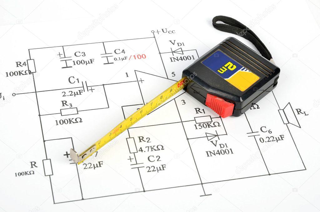 Circuit Diagram And Tape Measure Stock Photo Anaken2012 10143864