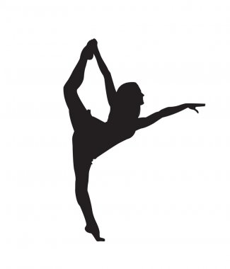 Print. silhouette of a ballerina who dances