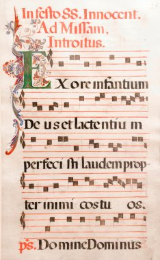 Antique Musical Notes of Gregorian Music