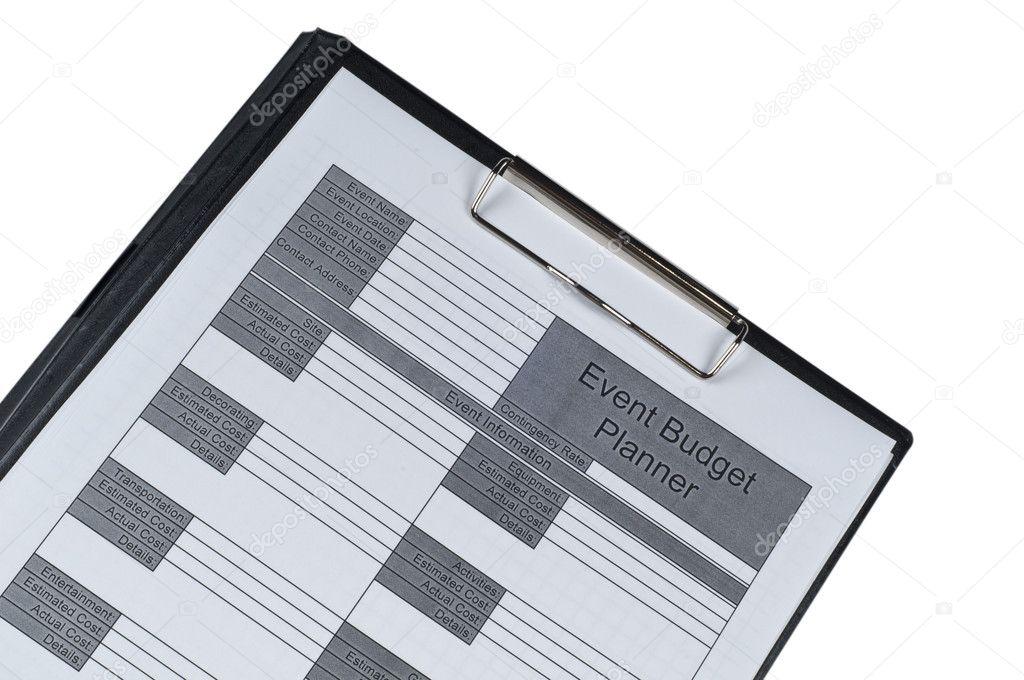 Ereignis Budget Planer Formular Formular — Stockfoto © murme #9031029
