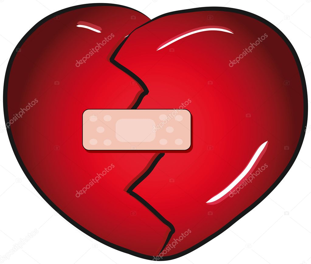 broken heart with a band aid vector clip art stock vector rh depositphotos com bandaid clipart png bandaid clipart free