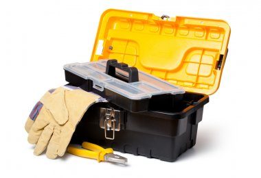 Leather Gloves and toolbox isolated on white