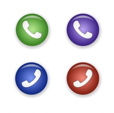Telephone receiver icon set