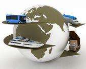 typy dopravy na pozadí mapy světa