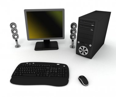 Black computer with speakers