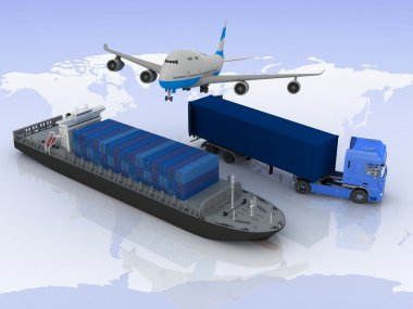 Types of transport of transporting loads on a background map of the world stock vector