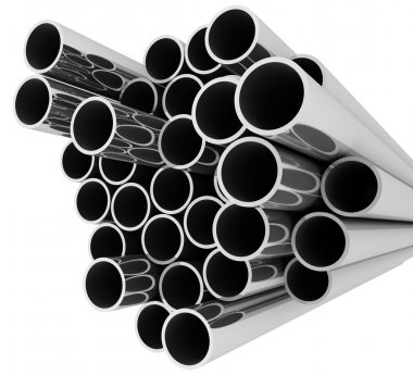 Set of pipes lying in one heap