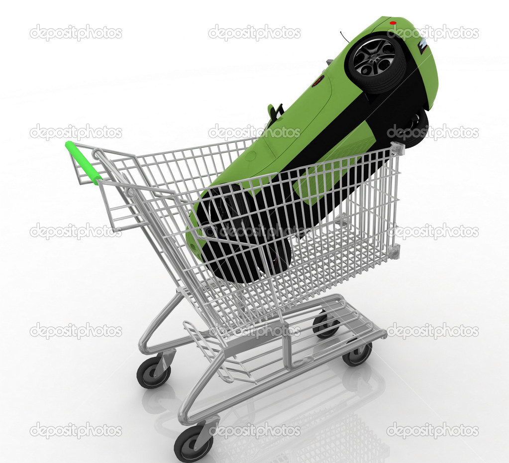 Winkelwagen Van Een Supermarkt Met Een Cadeau Stockfoto