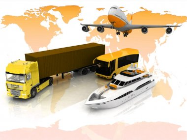 Types of transport on a background map of the world stock vector