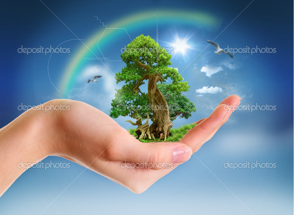 Human hand holding green landscape