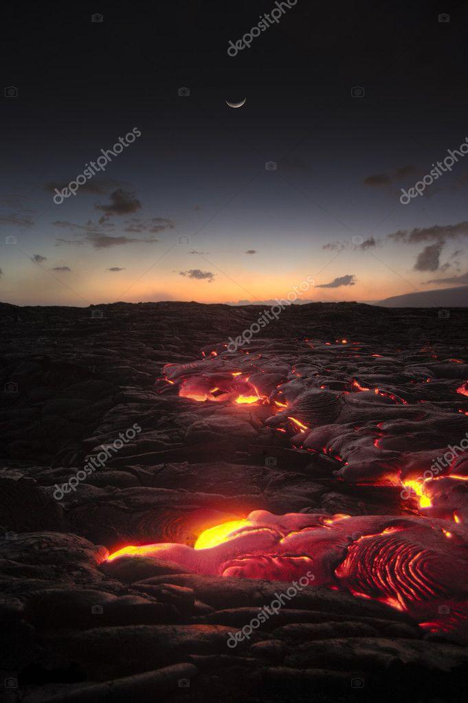 Hawaii lava flow at Kilauea volcano