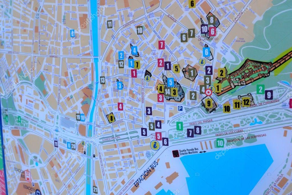 Mapa Turistico De Malaga.Mapa Turistico De Malaga Fotos De Stock C Piotrbudzowski