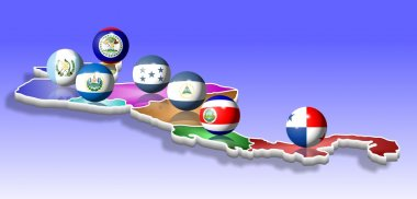A map of seven Central American countries with their flags shaped as balls