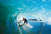 szörfös, kék óceán hullám