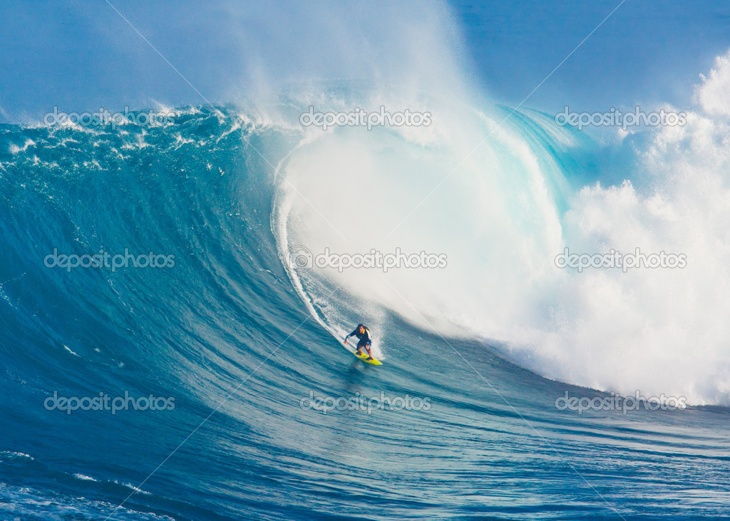 Surfer On Giant Wave Stock Editorial Photo