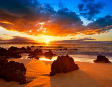 "Картина, постер, плакат, фотообои ""Драматические яркие закат в Гавайи"", артикул 8473269"