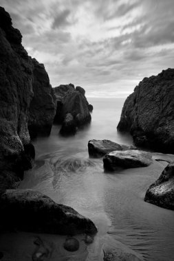 Beautiful Seascape, Ocean and Rocks at Sunset, Black and White I