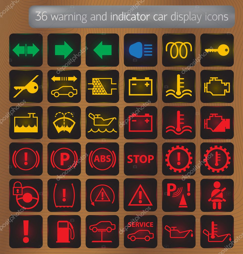 Warnung Und Indikator Auto Display Symbole Gesetzt Stockvektor 169 Mr Arcadio 10023616