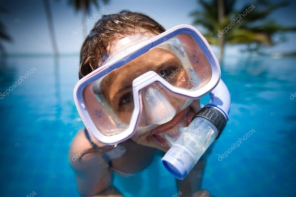 Woman in a swim mask