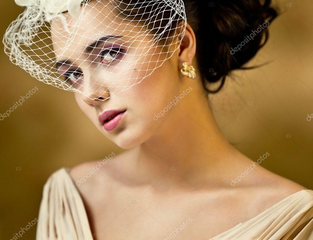 Girl with a focus on veil