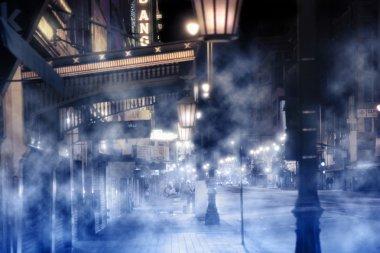 Foggy street scene
