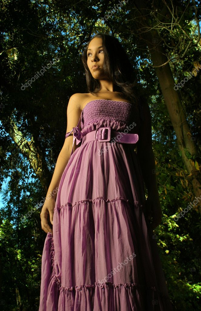 Model in Purple dress