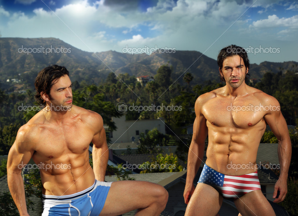 Sexy male fit twins