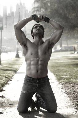 Man on knees