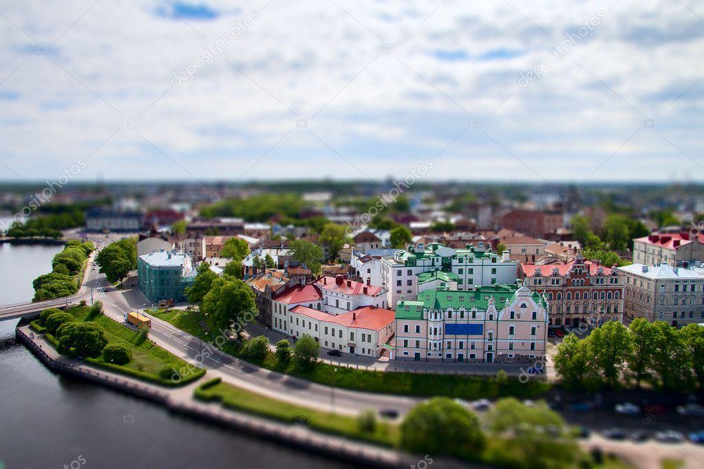 Faked tilt shift tonw Wyborg, Russian - Finland border.