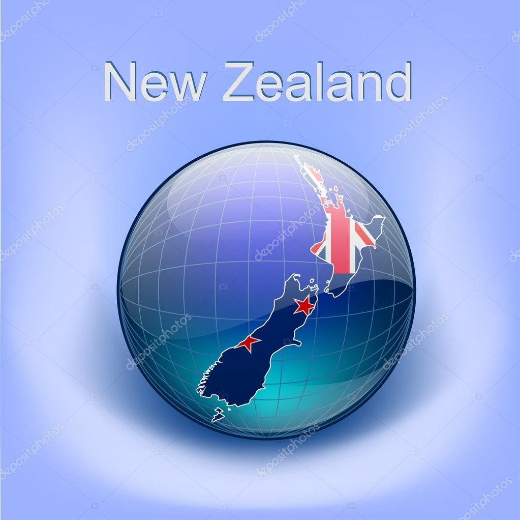 Map of new zealandflag in the globe stock vector hovskiy 8994449 map of new zealandflag in the globe stock vector gumiabroncs Image collections