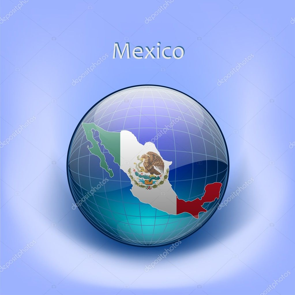 map of mexico flag in the globe stock vector hovskiy. Black Bedroom Furniture Sets. Home Design Ideas