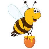 Fotografia ape felice con vasetto di miele