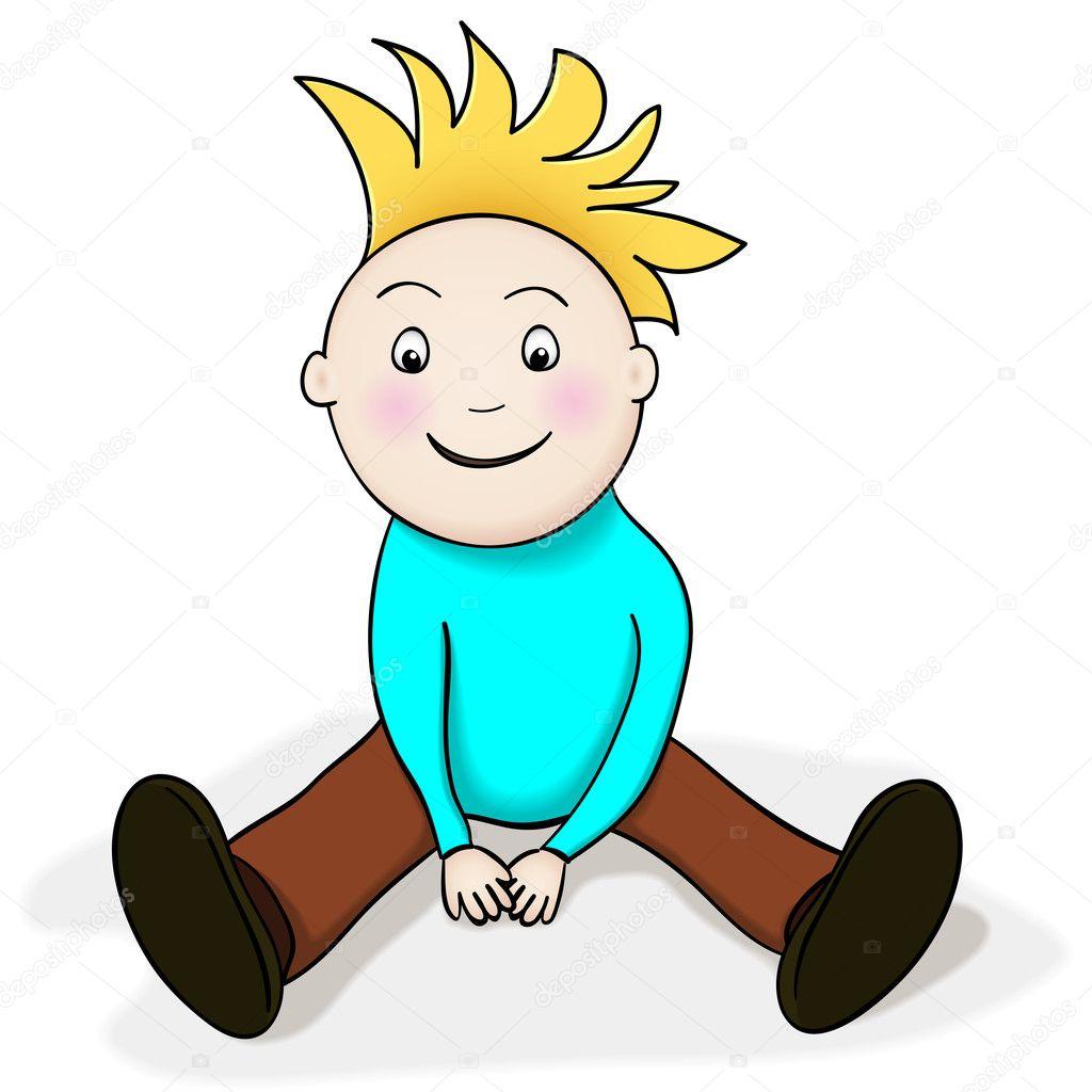 niño feliz sentado — Archivo Imágenes Vectoriales