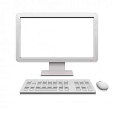 Modern desktop computer with a blank widescreen monitor, wireless keyboard