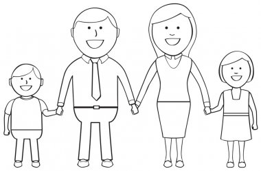 Outlined Happy Family