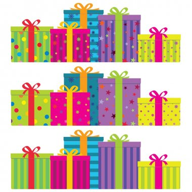 Colorful gift boxes with ribbons & bows.
