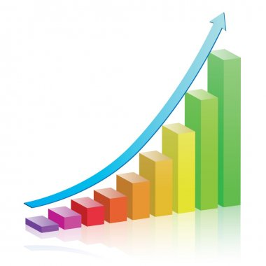 Colorful bar chart with an arrow depicting growth. stock vector