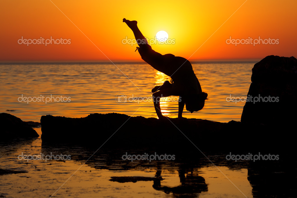 Yoga on sunset