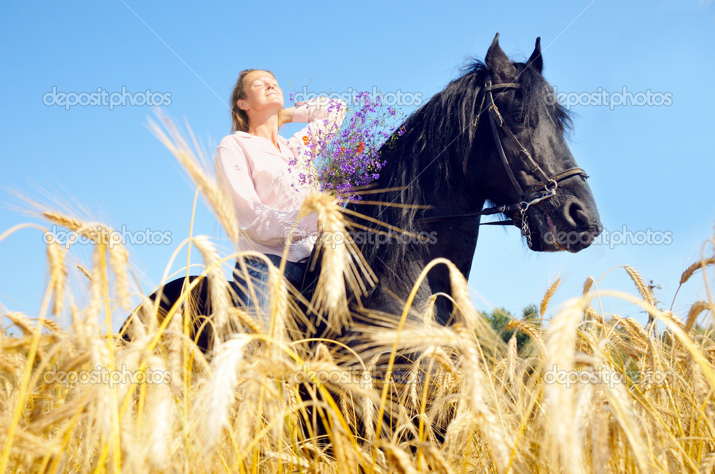 Beautiful Woman Rides Pretty Horse In Summer Field And Takes A S Stock Photo C Boguslavovna 8883751