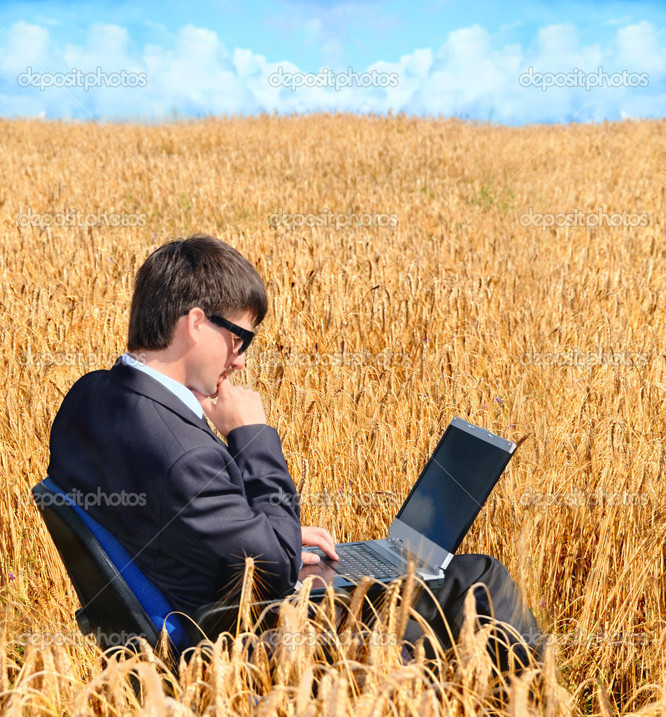 Successful businessman works in field on notebook