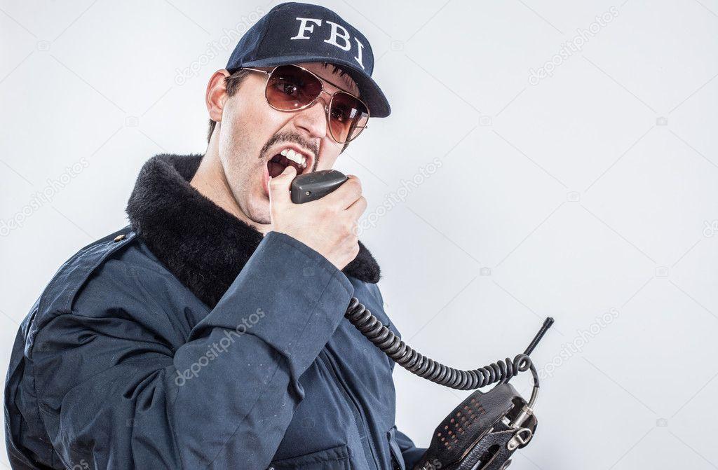 Criant Du Agent Bleue À Portant Fbi La Furieux Veste Une Radio x4wH5q