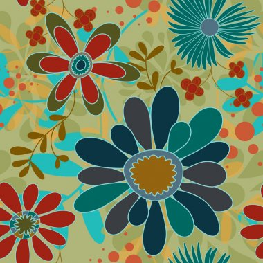 Flowers And Swirls Pattern
