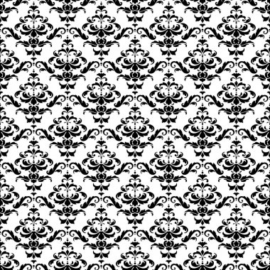 Seamless Black and White Damask Pattern