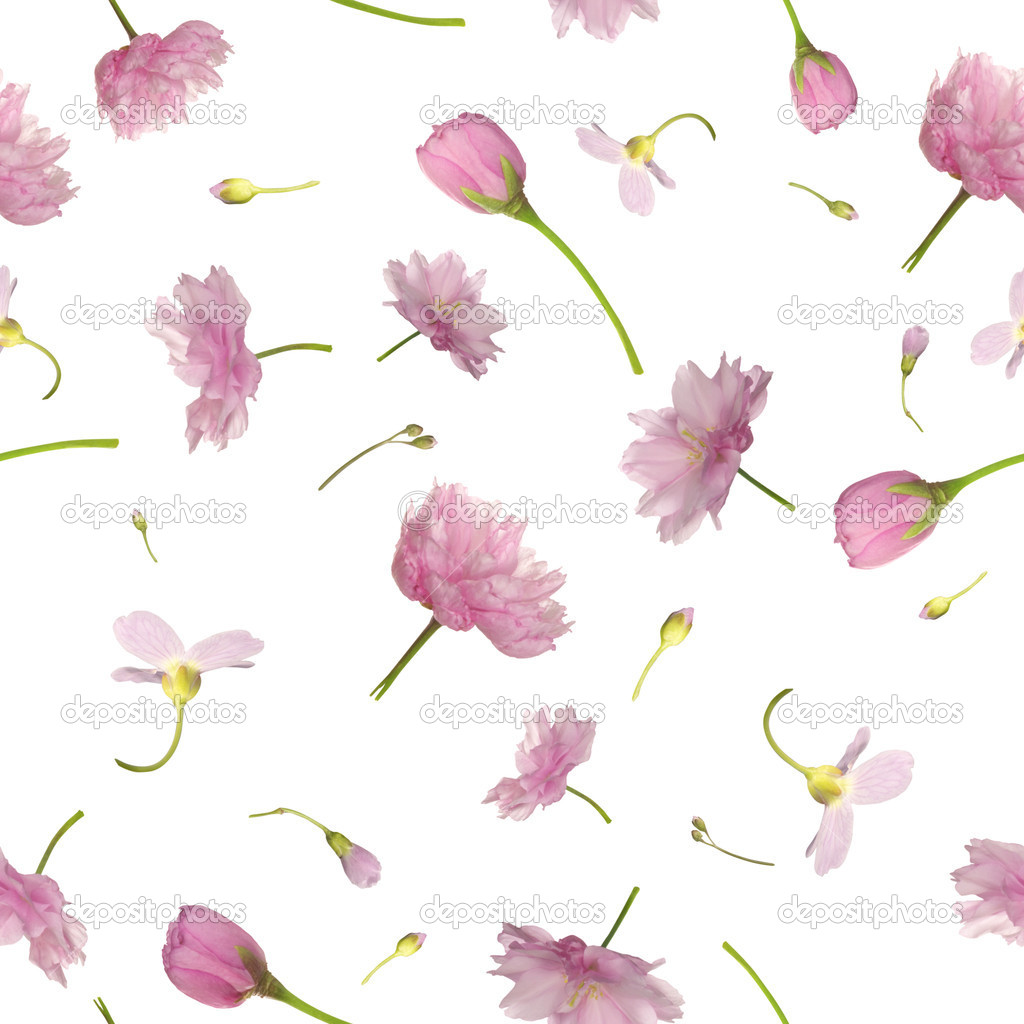 Seamless flying flowers in pink